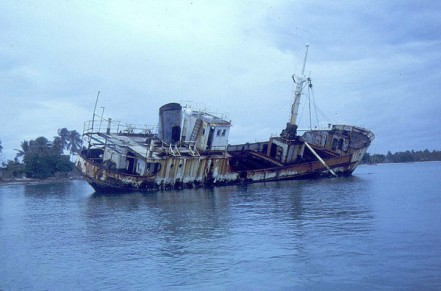 The 228-ton cargo ship, Mieco Queen, Majuro Atoll. Marshall Islands, in May 1980. Built in 1956, the Mieco Queen clearly had seen some rough seas since since the days when she carried Joseph Wright to Mili Atoll's Enajet Island in 1967.