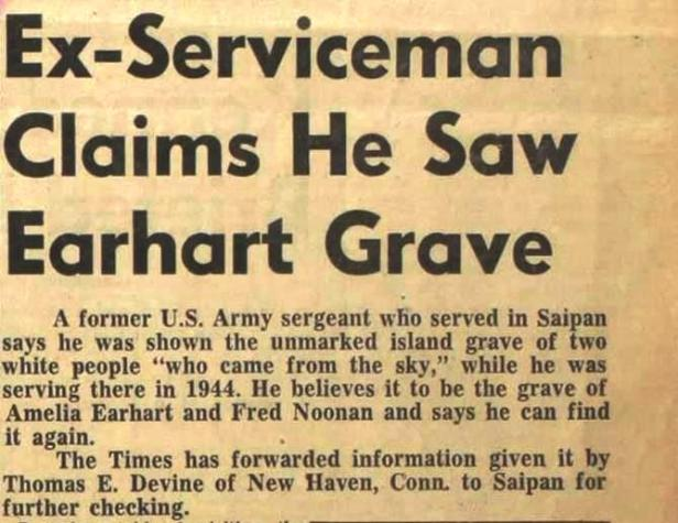 This story, which announced Thomas E. Devine's Saipan gravesite claim, appeared in the San Mateo Times on July 16, 1960. Devine returned to Saipan in 1963 and located the gravesite shown to him by the Okinawan woman in August 1945, but did not share his find with Fred Goerner. Instead Devine planned to return to Saipan by himself, but he never again got the opportunity.