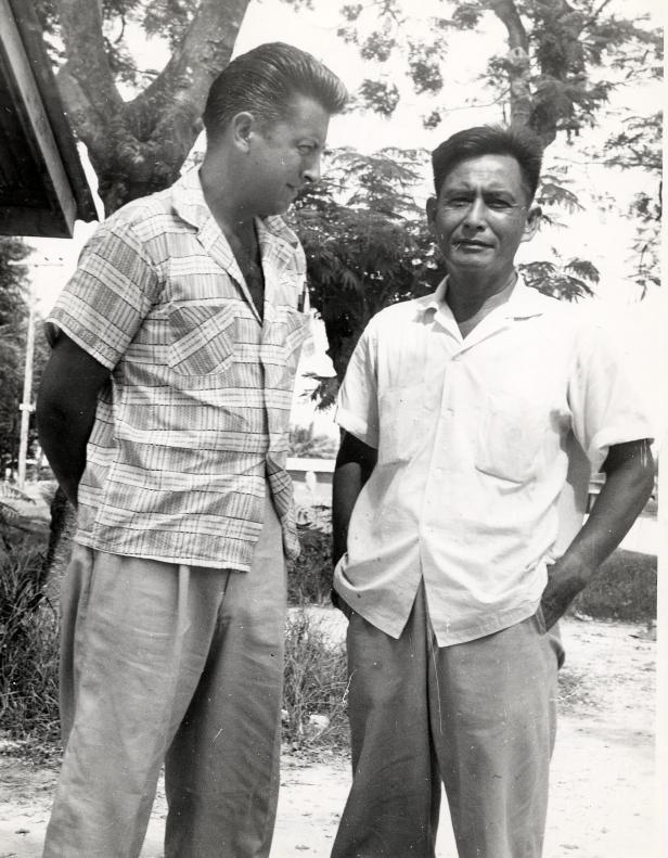 "Fred Goerner with witness Manuel Aldan on Saipan, June 1960. Aldan was a dentist whose practice was restricted to Japanese officers in 1937, and though he didn't see the American fliers, he heard much about them from his patients. Aldan told Goerner that one officer identified the white woman as ""Earharto!"" (Courtesy San Francisco Library Special Collections.)"
