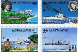 The independent Republic of the Marshalls Islands issued these four postage stamps to commemorate the 50th anniversary of Amelia Earhart's landing at Mili Atoll and pickup by the Japanese survey ship Koshu in July 1937.  To the Marshallese people, the Earhart disappearance is no mystery or rumor, but a stone cold fact.
